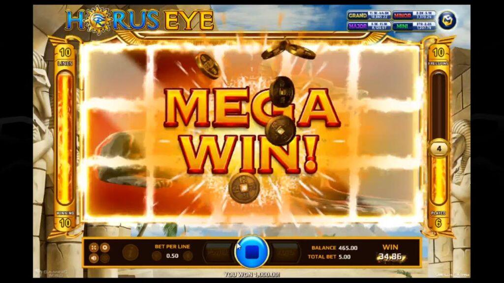 สล็อตแตกตอนได้สัญลักษณ์โบนัส Wild ในเกม Horus Eye ที่เว็บ Betflik